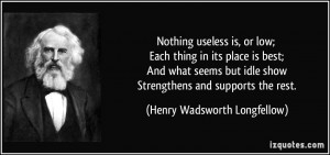 Nothing useless is, or low; Each thing in its place is best; And what ...