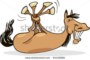 Cartoon illustration of funny horse - stock photo