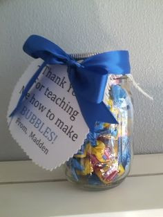 Teacher Gift: bubble gum + tag reading,
