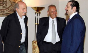 MP Saad Hariri , Speaker Nabih Berri and PSP leader MP Walid Jumblatt ...