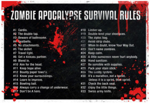 Zombie Apocalypse Survival Rules Poster