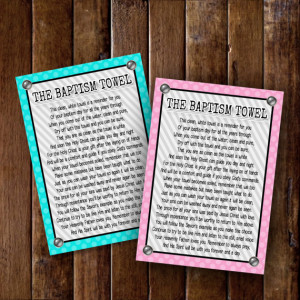 Lds Baptism Poem Lds Baptism Towel Poem Cards