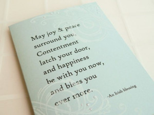 Irish Blessing Wedding Card - Handmade Card - white, blue, swirls ...