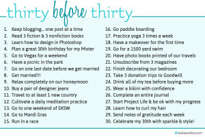 Thirty Before Thirty List | kaileenelise.com