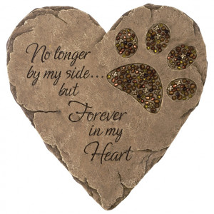 Pet Memorial Stone Heart with Paw Print