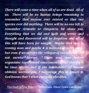Our Stars' by John Green Hazel Response, Stars, Oblivion Quotes, Hazel ...