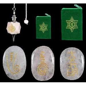 REIKI HEALING SET ROSE QUARTZ Set of 3 Reiki Symbol Stones amp Reiki