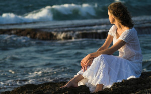 Women - Mood Model Female Women Sitting Sea Rock Wallpaper