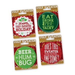 Ugly Sweater Pin Back Button Set #2 - Set of 4 Buttons $12.99