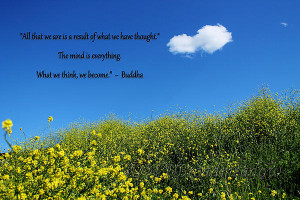 Buddha Quote On Blue Sky With Puffy White Cloud Print by Sarah ...