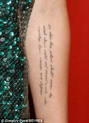 Miley got her first tattoo at just 17-years-old when she had the words ...