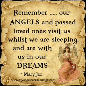 Remember ... our Angels and passed loved ones visit us whilst we are ...