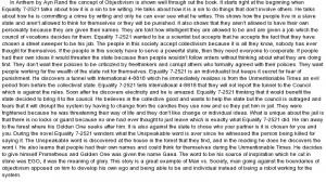 essay on Anthem by Ayn Rand essay