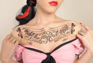 make a joyful noise – Chest Tattoo for Women