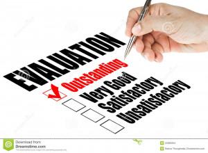 Evaluation quality survey on white background.
