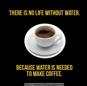 There is no life without water, because water is needed to make coffee ...