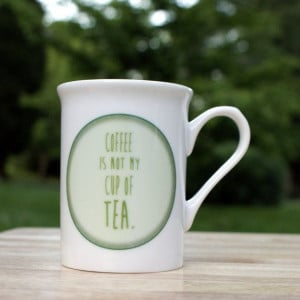 Tea Quote Fine Bone China Cup Mug in Green by PostTea on Etsy, £9.50