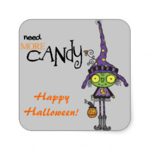 Cute Green Witch Halloween Square Sticker