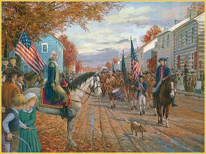 Washington leaves Carlisle, PA with militia