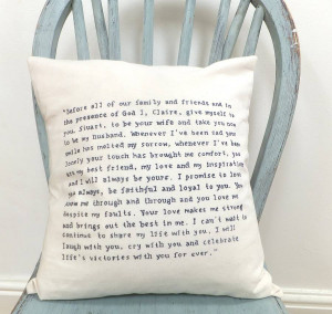 homepage > SKYBLUESEA > HAND WRITTEN QUOTE/WEDDING VOWS CUSHION