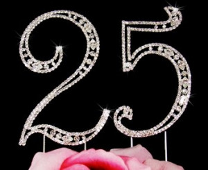 25th-Birthday-Swarovski-Crystal-Cake-topper-25th-Anniversary-Cake ...