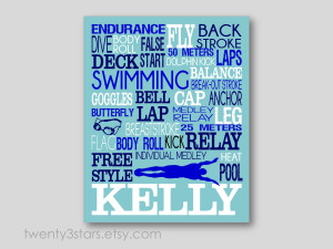 Swimming Quotes For Girl Swimmers Swimming typography art print,