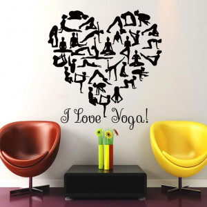 Wall Decals I Love Yoga Quote Gymnast Vinyl Sticker Heart Decal Gym ...