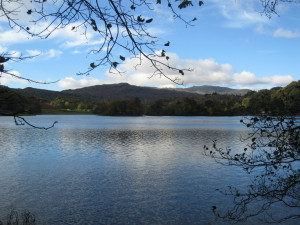 Blue sky over Rydal Water, where poet William Wordsworth walked
