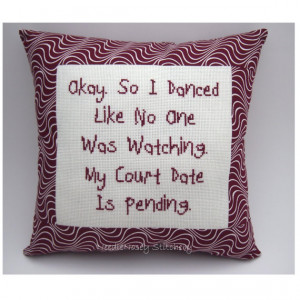 Funny Cross Stitch Pillow, Cross Stitch Quote, Burgundy Maroon Pillow ...