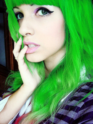... green, green eyes, hair, it girl, lindsay woods, piercing, scene hair