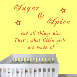 Sugar & Spice and all things nice quote on yellow wall art decal vinyl ...