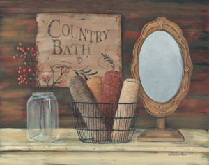 Bathroom - Country Bath - Primitive Country Framed Wall Art, Signs