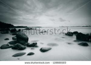... landscape of rocks, sea, beach for inspirational quotes - stock photo