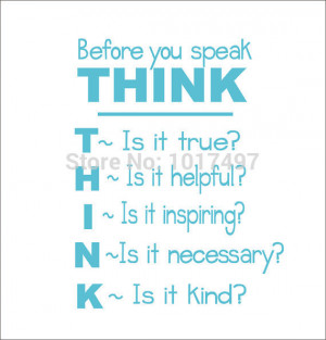 School Classroom Vinyl Wall Quote Decal Sticker , Think Before You ...