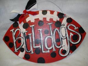 UGA Go Dawgs Bulldogs Georgia polka dot football door decor wall ...