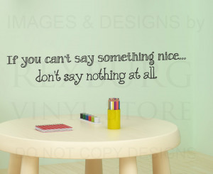 ... Sticker Quote Vinyl Art If You Can't Say Something Nice Bambi B74