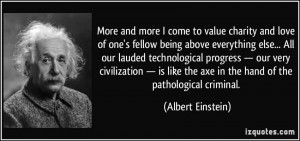 Best Charity Quote By Albert Einstein~ More and More I come to value ...
