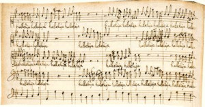Henry Purcell's setting of a Latin psalm. Shown here is a detail of ...