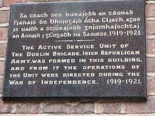 Wandtafel, die an die Gründung der Dubliner IRA-Kampfeinheit 1919 ...