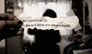 lie, mirror, quote, separate with comma, text, writing