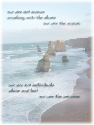 ... the ocean. We are not individuals alone and lost we are the universe
