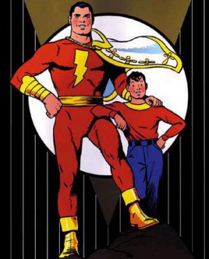 Captain Marvel! Teaching little boys to hang out with muscular guys ...