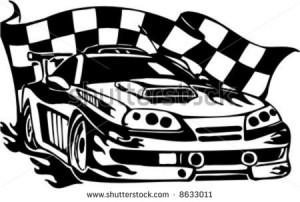 Flag Auto Racing Nascar Symbol on Checkered Flag And Street Racing ...