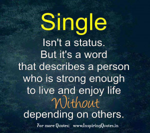 Single isn't a status. But it's a word that describes a person who ...