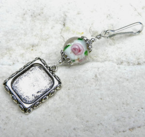 Wedding bouquet photo charm. Pink roses .