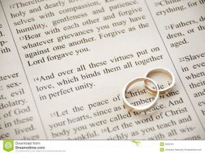 Wedding rings over bible scripture, Colossians 3:14.