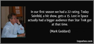 ... Space actually had a bigger audience than Star Trek got at that time