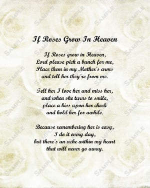 Happy Birthday Mom In Heaven Poems Memorial poem for mother roses