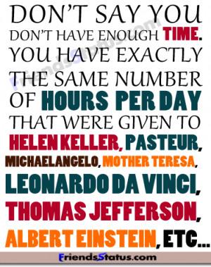 enough time fb status quotes