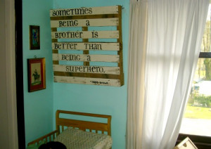 For the wooden wall art, I reused old pallets and barn wood. I used ...